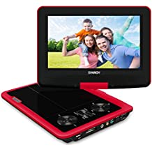 """Portable DVD Player, SYNAGY 9"""" Personal DVD Player for Car, with 270 Degree Swivel Screen and Rechargeable Battery (Red)"""