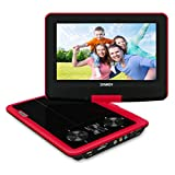 SYNAGY 9inch Portable DVD Player Portable CD Player with Screen & SD Card Slot for Kids Adults Seniors & Cars (Red)