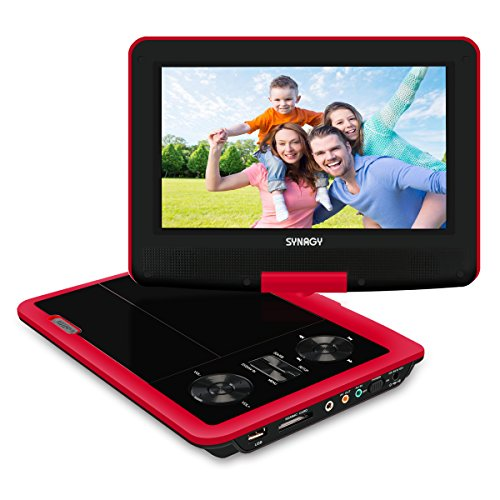 "SYNAGY 9"" Portable DVD Player CD Player with Swivel Screen Remote Control Rechargeable Battery Car Charger Wall Charger, Get a Free Car Headrest Mount Holder Below(Red)"