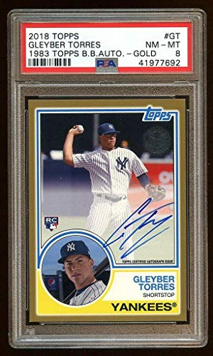 8 Gleyber Torres 2018 Topps 1983 Rc Auto /50 Gold On Card Autograph Yankees - PSA/DNA Certified - Baseball Slabbed Autographed Cards