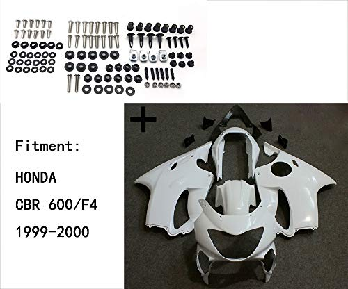 XKMT-Unpainted ABS Body work Fairing Kit w/screw Compatible With HONDA CBR 600/F4 1999-2000 INJECTION [B07QJ83TXZ]