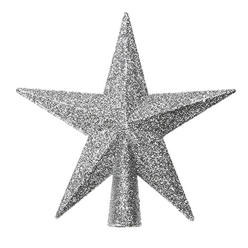 - Whitelotous Christmas Tree Topper Top Glittered Stars Xmas Decor Accessories Sparkle Ornament (Silver)(11cm)