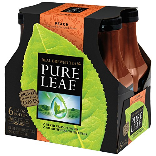 Pure Leaf Iced Tea, Peach, Real Brewed Tea, 0 Calories, 18.5 Ounce Bottles (Pack of 6) by Pure Leaf