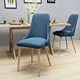 Raphelle Mid Century Muted Blue Fabric Dining Chairs with Light Walnut Wood Finished Legs (Set of 2)