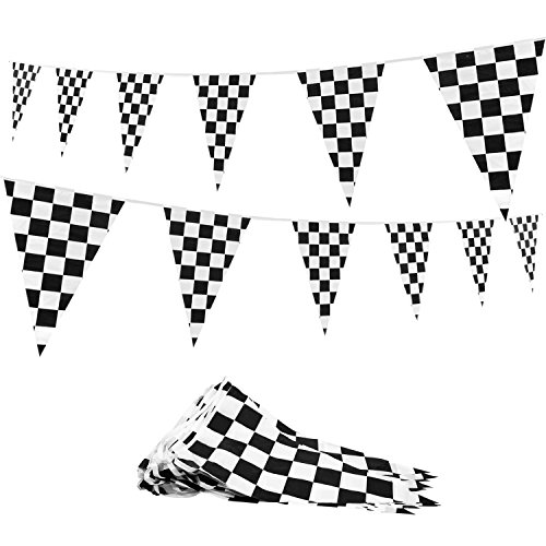 Novelty Place 100 Feet Checkered Pennant Banner - 48 Pieces 12'' x 18'' Sports Racing Flags - NASCAR Theme Party Decorations by Novelty Place