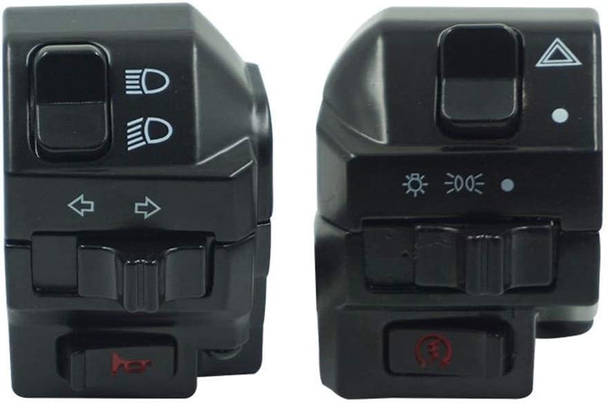 SHENLIJUAN Black Universal Aluminum 7//8 22MM Motorcycle Switch Handlebar Motorbike Horn Turn Signal Headlight Control Buttons