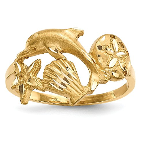 14k Yellow Gold Sea Life Band Ring Size 7.00 Animal Fine Jewelry Gifts For Women For Her