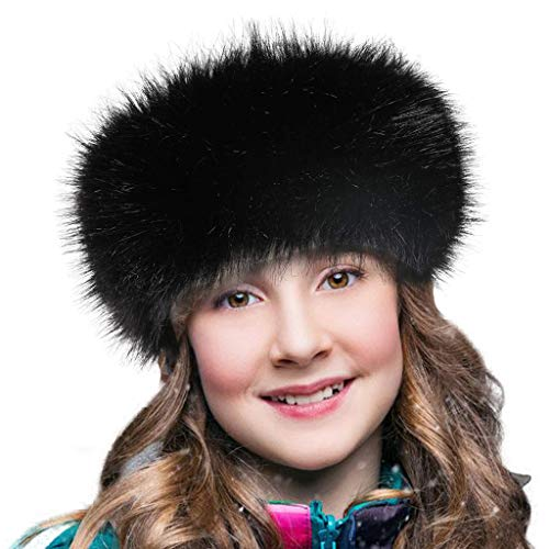 FHQHTH Faux Fur Headband with Elastic Stretch Women Fur Hat Winter Ear Warmer Earmuff Ski Cold Weather Caps - 4 Cashmere Bk