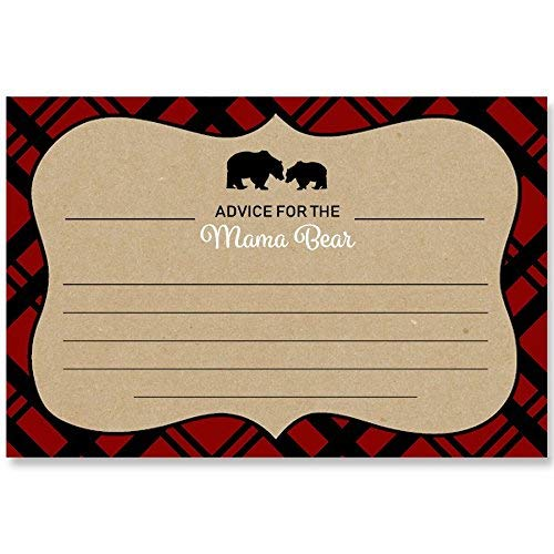 Lumberjack, Baby Shower, Advice Card, Advice for Mommy, Advice for Mommy to Be, Mama Bear, Gender Neutral, Unisex,Tan, Red, Black, Plaid, Rustic, Baby Bear, Themed Shower, 24 Pack Printed Advice Cards