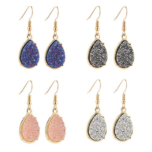 BaubleStar Chic Simulated Druzy Earrings Pack Tear Drop Dangle Gold Earrings for Women Girl Stone Crystal Sparkly Oval Ore Jewelry B104-3C