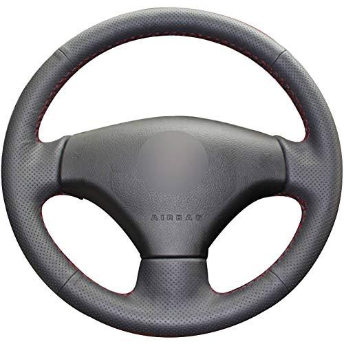 XQUFMSGW Natural Black Car Leather Steering Wheel Cover for for Peugeot 206, 2007-2009 Peugeot 207 Peugeot Citroen C2: