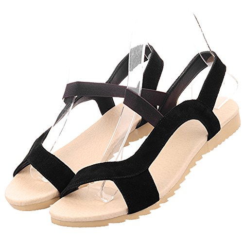 Enmayer Womens Party Trappy Flats Nero