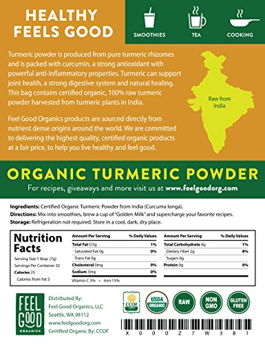 Organic Turmeric Root Powder w/Curcumin | Lab Tested for Purity | 100% Raw from India | 8oz Bag by Feel Good Organics by Feel Good Organics (Image #2)