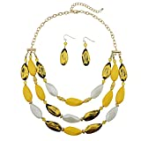 Bocar 3 Layer Beads Statement Necklace Earring for Women Jewelry Set (NK-10077-yellow)