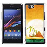 TECHCASE**Hard Protection Case Cover Skin for ** Sony Xperia Z1 Compact D5503 ** Palm Trees Lonely Island Ocean Sea Sun