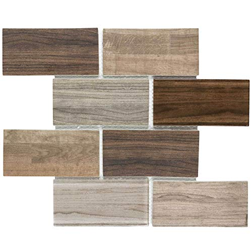 MTO0334 Modern Subway Brown Glossy Wood Grain Recycled Glass Mosaic Tile