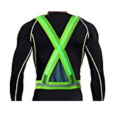 Yacig USB Rechargeable LED Reflective Safety Warning Vest for Outdoor Activities High Visibility with Double Illumination Strips - Green
