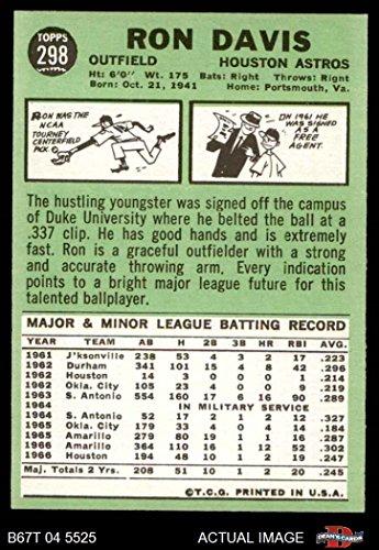 1967 Topps 298 Xdot Ron Davis Houston Astros Baseball Card No White Streak By Left Ear Deans Cards 8 Nmmt Astros