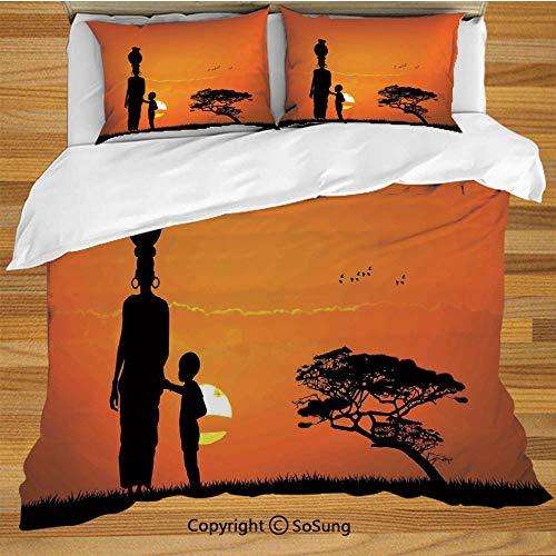 - Afro Decor King Size Bedding Duvet Cover Set,Child and Mother at Sunset Walking in Savannah Desert Dawn Kenya Nature Image Decorative 3 Piece Bedding Set with 2 Pillow Shams,Orange Black