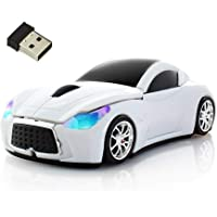 Wireless Mouse Cool Sport Car Shape 2.4GHz Optical Cordless Mice with USB Receiver for PC Laptop Computer 1600 DPI 3…
