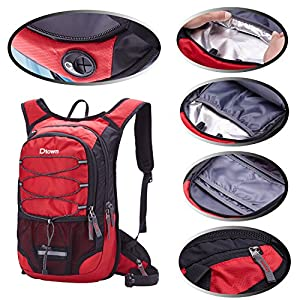 2 Liter Outdoor Sports Red Water Bag Backpack Hydration Lightweight Airsoft for Womens Mens Runners Jogging Dirt Bike