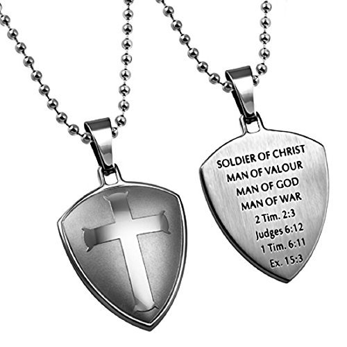 (North Arrow Shop Soldier of Christ Man of God Necklace, Stainless Steel, Cross Shield with Chain)