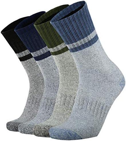 Ortis Men's 4 Pack Merino Wool Moisture Control Heavy Duty Work Boots Hiking Cushion Crew Socks