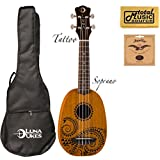 UKE TATTOO, Luna Pinapple 21' Mahogany Soprano Ukulele, Bag, EXTRA Strings, PC, UKE TATTOO PACK