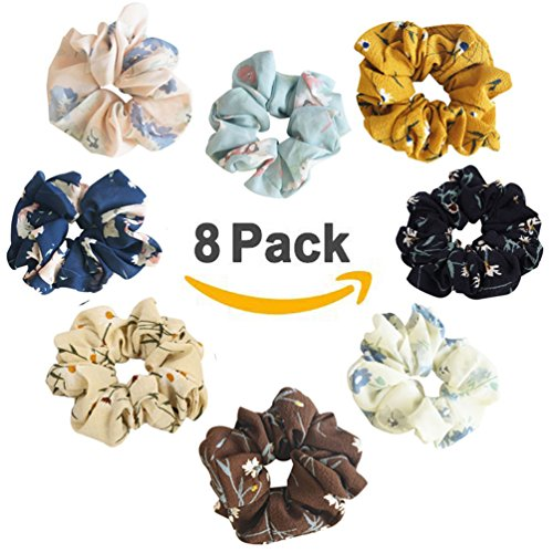 8 Pack Hair Scrunchies Women's Chiffon Floral Elastics Hair Bobbles Soft Elegant Hair Bands Colorful Scrunchy Hair Ties Ponytail Holder Hair Accessories for Girls