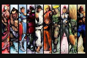 Street Fighter Super 3 4 Turbo All Cast Nice Silk Fabric Cloth Wall Poster Print (