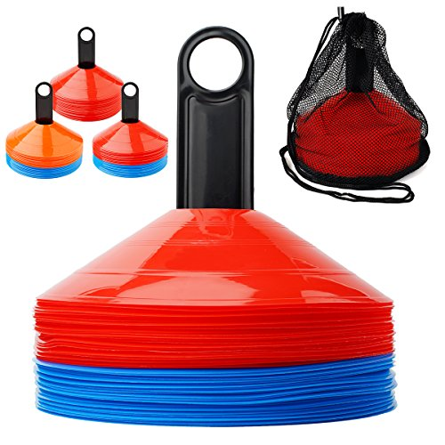 Assorted Color Cones - Ranphykx Disc Cones (Set of 50) Agility Soccer Cones with Carry Bag and Holder for Training, Football, Kids, Sports, Field Cone Markers