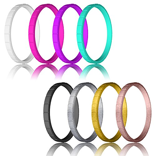 LUNIQI Silicone Wedding Ring for Women, Thin and Affordable Stackable Durable Rubber Safe Band for Love, Couple, Souvenir and Outdoor Active Exercise Style
