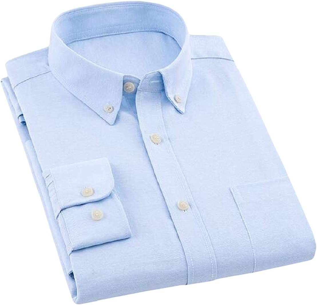 Wofupowga Mens Slim Office Pure Color Long Sleeve Button Up Dress Shirt