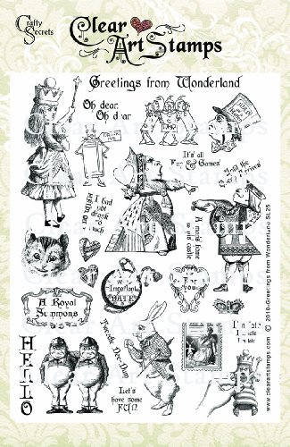 Crafty Secrets 8-Inch by 6-Inch Clear Art Stamps, Greetings From Wonderland