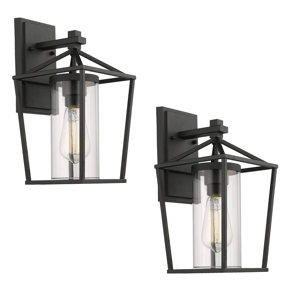 Emliviar Outdoor Porch Lights 2 Pack Wall Mount Light Fixtures, Black Finish with Clear Glass, 20065B1-2PK by EMLIVIAR