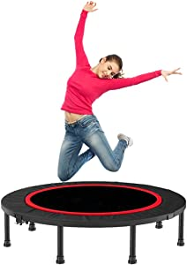 CLORIS Foldable Mini Trampoline for Kids Adults-5 Height Adjust Load 500 lbs Cardio Exercise Trampoline, Thick Jumping mat Steel Spring Fitness Workout Rebounder Trampoline Indoor Outdoor Garden
