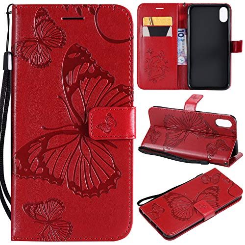 Price comparison product image NOMO iPhone XR Case, iPhone XR Wallet Case, iPhone XR Case with Card Holders, Folio Flip Leather Butterfly Case Cover with Kickstand Phone Protective Case for Apple iPhone XR (6.1 inch) 2018, Red
