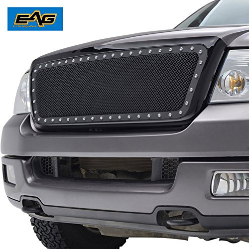 2004 F150 Grill (EAG Rivet Stainless Steel Wire Mesh Grille With ABS Shell for 04-08 Ford F-150)