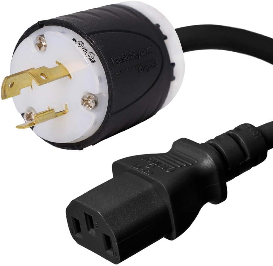 Iron Box Part # IBX-4931-06 NEMA L5-20P to C13 Power Cord 6 Foot 14//3 AWG 15A//125V