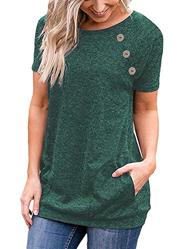 PinUp Angel Green Women's Casual Short Sleeve Button T-Shirt Tunic Top Solid Blouse Pockets
