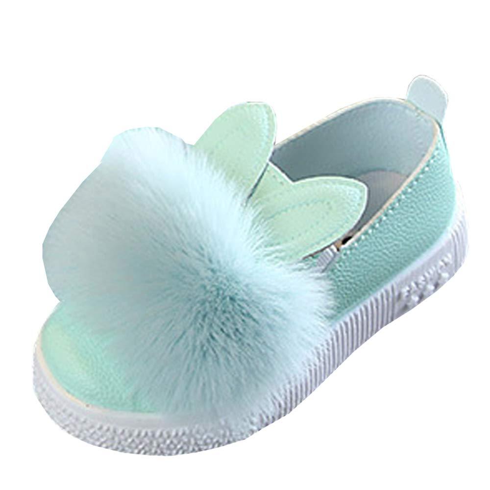 Lovirs Girls Light Green Casual Slip On Fur Ballerina Cute Flats Toddler Shoes 10 M US