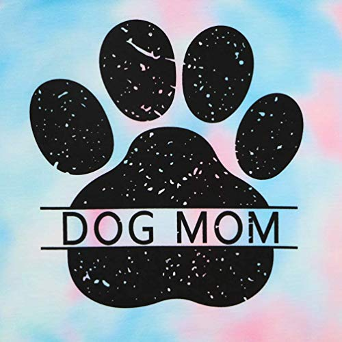 Dog Mom Tie-dye Sweatshirts Women Funny Dog Paw Graphic Shirts Casual Pullover Long Sleeve Top Blouse (Blue, S)