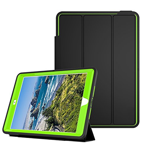 Qelus iPad Air2 Case, Three Layer Hybrid Shockproof Rugged Protective Heavy Duty with Magnetic Stand, Smart Cover Auto Wake/Sleep Protective Case Cover for Apple iPad Air 2(2014 Released),Black+Green by Qelus