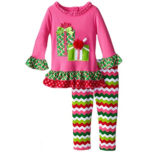 Lymnshi Little Girls Christmas Long Sleeve Shirt Pants Outfit 2 Pieces Set 1-5 Years 4Y Candy?Cane (Candy Cane Outfit)