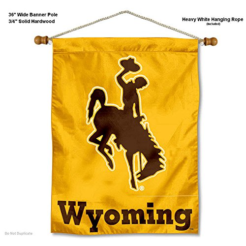 College Flags and Banners Co. Wyoming Cowboys Banner with Hanging Pole (Flag Indoor Wyoming)