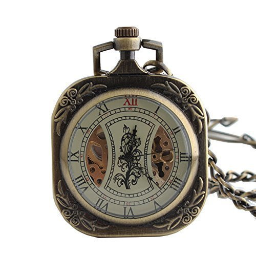 Antique Square Bronze Mechanical Hand Winding Fob Pocket Watch Chain Clock Roman Numerals Man - Mens Pocket New Square