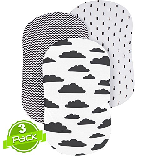 BaeBae Goods Bassinet Sheet Set | Cradle Fitted Sheets for Bassinet Mattress/Pads | Super Soft Jersey Knit Cotton | 3 Pack | 150 GSM | Above The Clouds Collection by BaeBae Goods