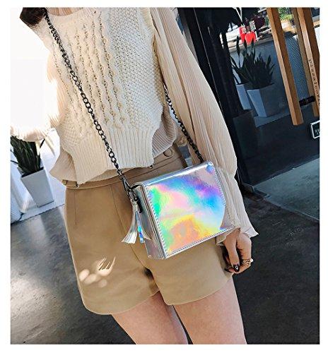 Handbag Casual Purse Silver PU Laser Clutch Women's Holographic Leather Shoulder Bag Bag Chain OYIGE Crossbody xZ4q8Tw