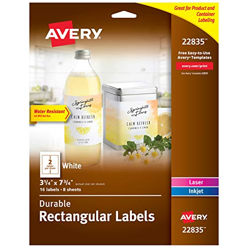 "Avery Rectangle Labels for Laser & Inkjet Printers, 3.25"" x 7.75"", 16 Water Resistant Labels (22835)"