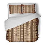 SanChic Duvet Cover Set Beige African Brown Ethnic Africa Geometric Flax Material Decorative Bedding Set with Pillow Sham Twin Size